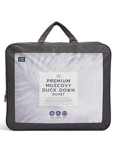 Marks and Spencer Premium Muscovy Duck Down Duvet, 50% reduction on all sizes, from £60 (single) plus free delivery.