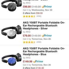 Amazon deal - AKG Y50BT Portable Foldable On-Ear Rechargeable Bluetooth Headphones - Silver. £79