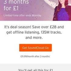 Sound Cloud Go just £1 for 3 months
