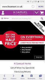 Buy one get one half price at H Samuel Black Friday deal