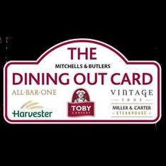 Get £10 free on a £50 gift card (Valid at Mitchells & Butlers restaurant, pub, bar, e.g. Toby carvery or Innkeeper's Lodge)