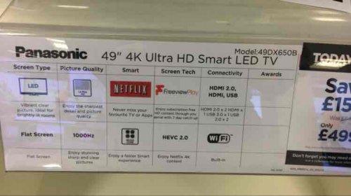 """PANASONIC VIERA TX-49DX650B Smart 4k Ultra HD 49"""" LED TV £499 @ Currys"""