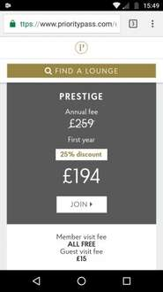 Unlimited Airport Lounge Entry for 1yr £194 or 10 visits a year for £119 @ Priority Pass