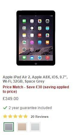 "Apple iPad Air 2, Apple A8X, iOS, 9.7"", Wi-Fi, 32GB  £349 from John Lewis"
