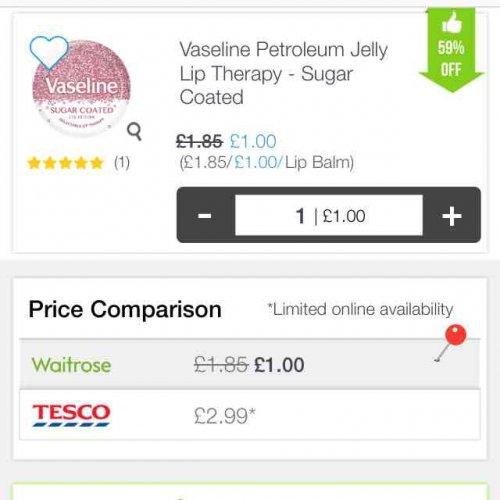 Vaseline Sugar Coated Lip Tin £1 instore at Waitrose