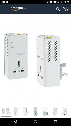 NETGEAR PLP1200-100UKS 1200 Mbps Powerline Ethernet Adapter Homeplug, Pass Through/Extra Outlet (1 Gigabit Ethernet Port) - Twin Pack £44.99 @ Amazon