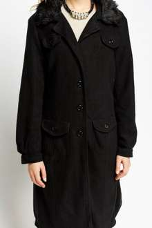 Faux Fur Collar Long Fleece Coat, £5 + £3.95 P&P @ Everything5pounds (Potentially £3.95 For New Customers With Code)?