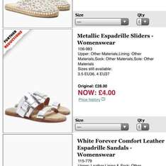 Metallic Espadrille sliders at Next £4 from £28