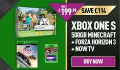 Xbox One S 500GB £199.99 with Minecraft and Forza Horizon 3 or an extra Controller and NOW TV @ GAME | Edit 27/11 £10 bonus plus 2.2% cashback at Quidco