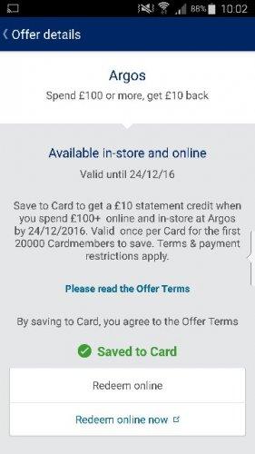 Amex  Spend £100 get £10 back at Argos