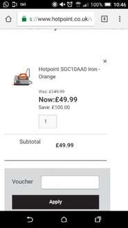 Hotpoint HD Line SGC10AA0 Steam Generator Iron £49.99 delivered @ Hotpoint (2 Year warranty)