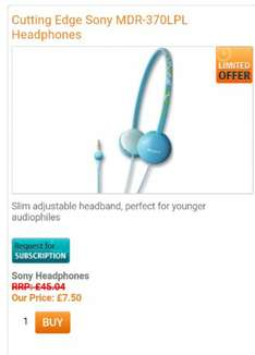 Cutting Edge Sony MDR-370LPL Headphones Slim adjustable headband, perfect for younger audiophileswere £45.04 Reduced to £7.50 Now £5.25 with code. Free p&p on all items over £30 @ Rowlands pharmacy online