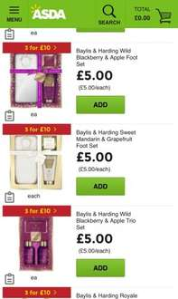 3 for £10 on beauty gifts @ Asda