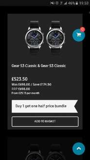 Gear s3 classic (x2) £523.50 @ Samsung shop (free delivery)