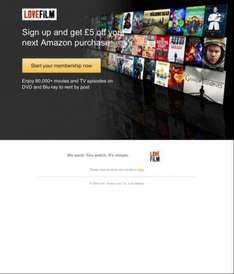 Potential £5 free Amazon credit if you Sign up for free LoveFilm trial.
