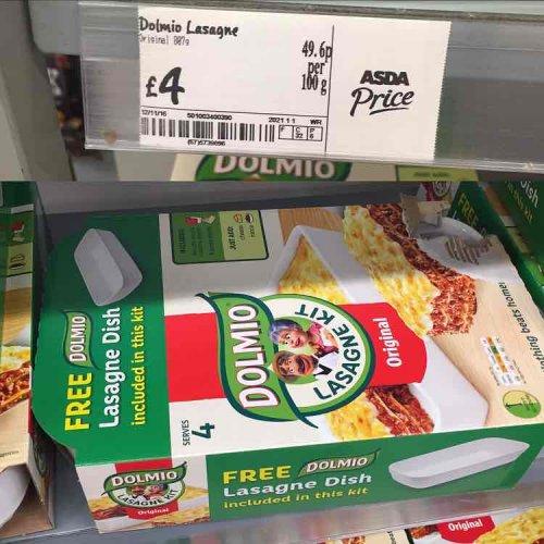 dolmio lasagne kit with a free dish £4 @ Asda