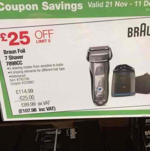Braun series 7 wet & dry 7898cc foil shaver £107.98 @ costco