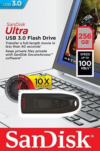 SanDisk Ultra 256 GB USB Flash Drive USB 3.0 up to 100 MB/s - Black £42.99 @ Amazon