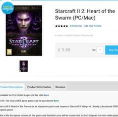 Starcraft II 2: Heart of the Swarm (PC/Mac) - £3.59 @ CDKeys.com