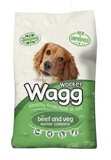 Wagg Complete Dog Food, Beef and Vegetables or Chicken - 17kg for £9 - Amazon Prime Exclusive