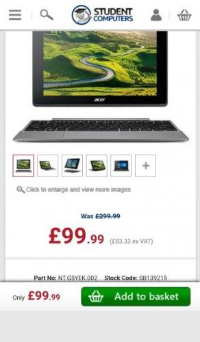 "Acer Aspire Switch 10 V Tablet & Keyboard Dock - Intel Atom Quad-Core CPU 2GB RAM 32GB SSD 10.1"" Screen Windows 10 Retail Boxed 12 Months Warranty, NT.G5YEK.002 £99.99 studentcomputers"