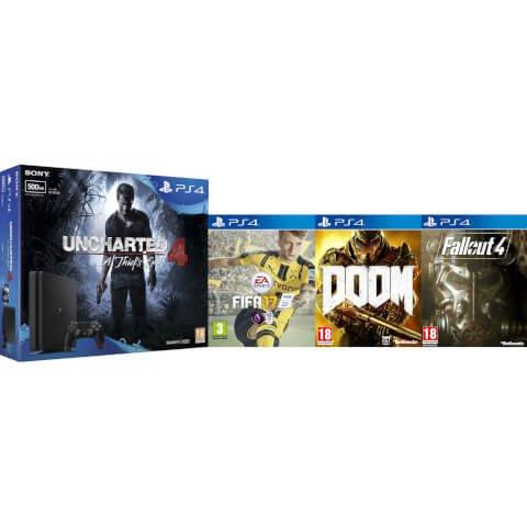 PS4 500gb with Uncharted 4, Doom, Fallout 4 & FIFA 17 £229 @ Zavvi