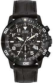Citizen Watch Perpetual Calendar Men's Quartz Watch with Black Dial Chronograph Display and Black Leather Strap, £125 from e.jones