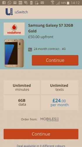 samsung galaxy s7 Vodafone £24 a month uswitch.com