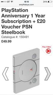 12 months Playstation Network Access and £20 credit £49.99 @ Smyths