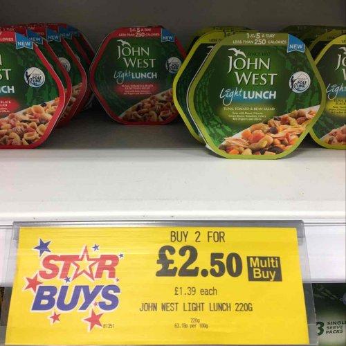 2 John West Light Lunch for £2.50 Home Bargains
