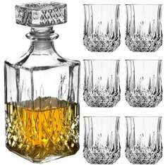 6 x whiskey / whisky tumblers and square glass decanter set £9.95 with free delivery @ eBay sold by buy_gadgets