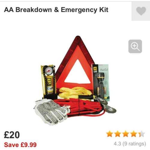 AA break down kit £20 @ Halfords