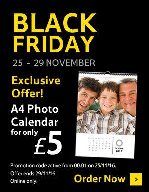 Tesco A4 Photo Calendar. £5 with code (usually £15) Ends midnight