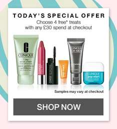 Clinique festive 8 days of free offers today on any £30 spend+ Free Sample + FREE DEL + Quidco @ Clinique