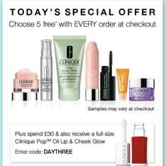 5 free deluxe samples with any order at Clinique. free delivery