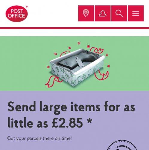 Post Office Parcel offer - Send a parcel up to 2kg for just £2.85