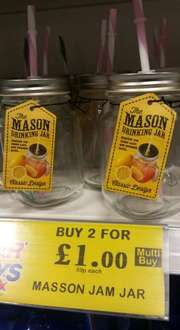 monson drinking jars 2 for £1 or 59p each @ home bargains