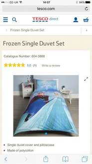 Frozen single Duvet cover £7 Tesco instore