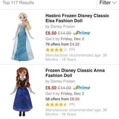 frozen classic elsa & anna fashion doll £6.50 each disney princess ariel royal shimmer - £6.50 delivered prime / free delivery if spending over £20