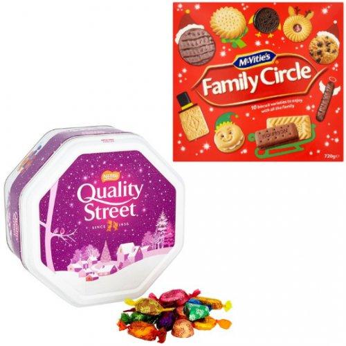 Quality Street Metal Tins 1315g £7 At Tesco, ASDA, Waitrose and Ocado |||||||| Mcvitie's Family Circle 720G £2 At Tesco