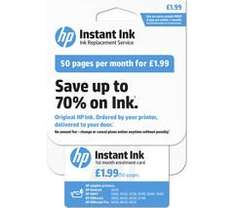 HP instant Ink for Printers cards  (Save 70% on Ink) from £1.99 Currys