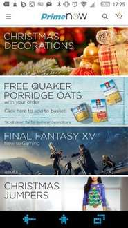 Free quaker oats with £20 order on Amazon Prime now