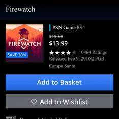 Game Sale PSN Canada incl Firewatch for £8.40