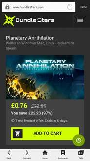 Planetary Annihilation (PC Game) 76p @ bundlestars (Steam)
