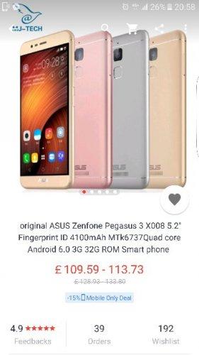 Asus Zenfone Pegasus 3 £109.59 @ AliExpress  Store: MJ-TECH