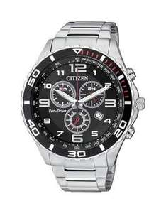 Citizen Eco-Drive Black Dial Chronograph Stainless Steel Mens Watch £125 @ Very