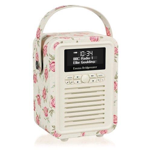 Amazon VQ Retro Mini Emma Bridgewater Digital Radio (DAB/DAB+/FM) and Bluetooth Speaker - Rose and Bee