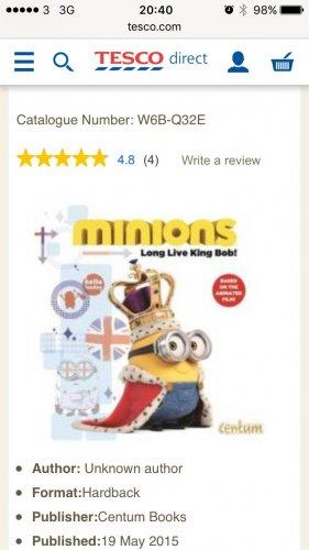 Long live king bob minion book £2 @ Tesco
