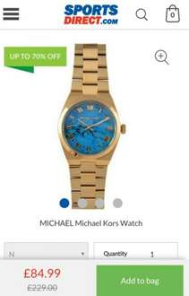 Michael Kors watches £84.99 from £229 70% off @ Sports Direct