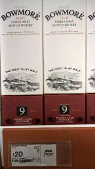 Bowmore 9 Year Old Sherry Cask Matured Whisky Limited Release  £20.00  Asda in store